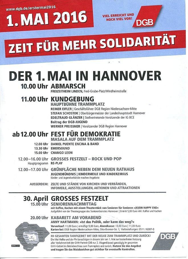 Programm in Hannover zum ersten Mai 2016