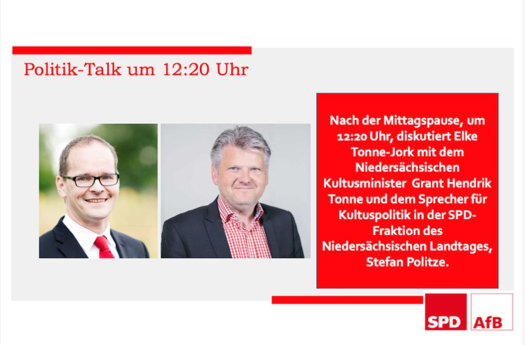 Kongressmappe S. 5. - Politik-Talk um 12:20  Uhr mit Grant Henrik Tonne und Stefan Politze