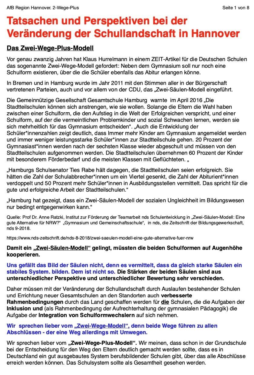 Veränderung der Schullandschaft in Hannover